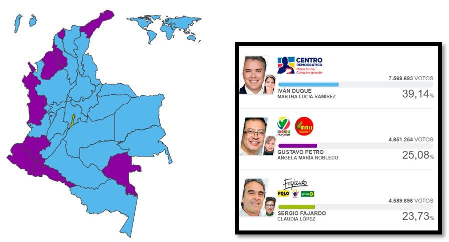Mapa 2. Resultados del preconteo para la Presidencia de Colombia