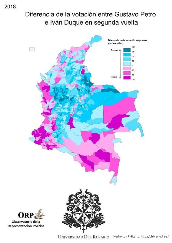 Mapa 1. Diferencia de la votación entre Iván Duque y Gustavo Petro